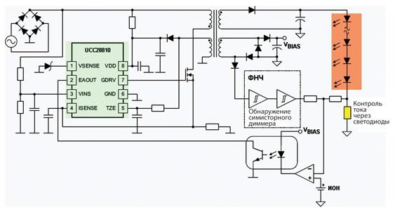 ...схема включения контроллера UCC28810 с функцией коррекции коэффициента мощности и поддержкой симисторных диммеров.